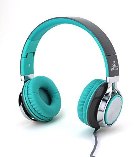 Artix cuffie cl750 pieghevoli con microfono | nrgsound cuffie compatte, perfette per bambini/adolescenti/adulti - turchese e grigio