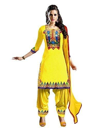 Vatsla Women Cotton Salwar Suit (panjabi1_Yellow_Yellow_Free Size)