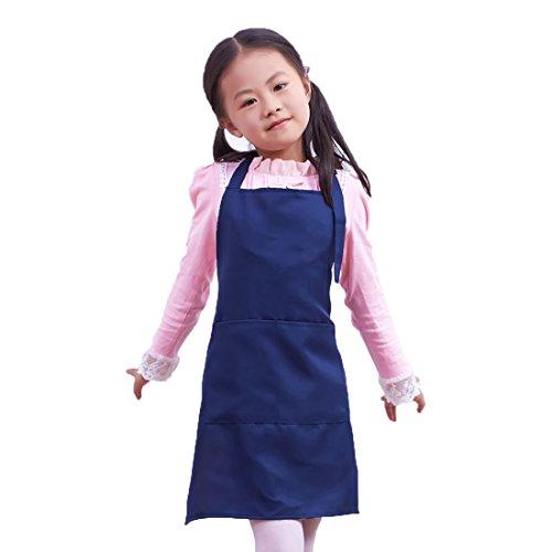 LissomPlume Kind Malschürze Kunstkittel Kinderschürze Kochschürze Arbeitsschürze Painting Supplies - Marineblau