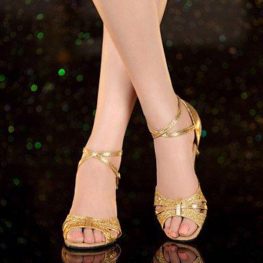 XIAMUO nicht anpassbar - die Frauen tanzen Schuhe Leder/Lack Leder Leder/Lackleder Latin Heels kubanischen HeelPractice/Beginner/ Gold