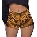 Luckycat Damen Sommer Shorts Tunnelzug Elastische Stoffhose Solide Kurze Hosen Satin Strand Shorts Damen Einfarbig Shorts Hohe Taille Faltete Freizeitshorts Sommer Weiche Atmungsaktiv Stoff-Shorts
