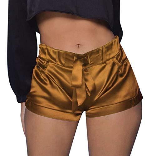 Luckycat Damen Sommer Shorts Tunnelzug Elastische Stoffhose Solide Kurze Hosen Satin Strand Shorts Damen Einfarbig Shorts Hohe Taille Faltete Freizeitshorts Sommer Weiche Atmungsaktiv Stoff-Shorts -