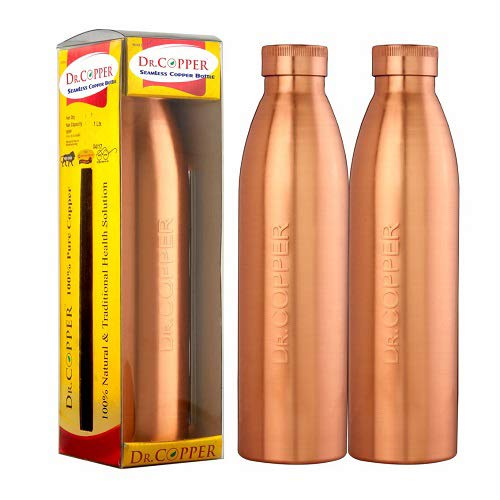 Dr. Copper World'S First Seam Less Copper Water Bottle,1 Ltr, Set Of 2
