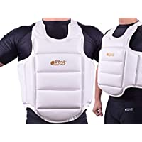 Ofbos® Protector Pecho,/corsé de protección Piel MMA, Chest Protection en Cuero MMA Muay Thai, DE Karate para Gym Fitness Workout Body Shield Protector, Blanco, X-Large