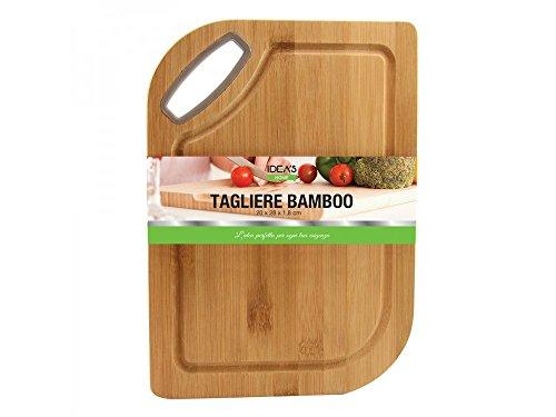 Girm® - hx916275 - tagliere rettangolare in bamboo con manico e scanalatura antigocciolamento, dimensioni 20x28x1.8 cm - pezzo singolo - tagliere in legno per salumi, formaggi, verdure et