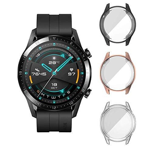 ELYCO [3 Pack] pour Huawei Watch GT 2 (46mm) Protecteur D'écran Coque, [Anti-Rayures] Couverture Totale TPU Cas Protection D'écran pour Huawei Watch GT 2 46mm