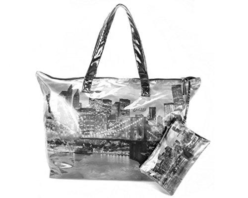 YouBag Borsa Donna a Spalla Con Manici e Pochette interna Free Bag Grattacieli Cm 63x40x15