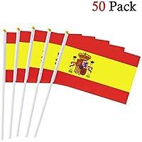España Banderas de Mano Nacional,50 PCS,14 x 21CM/5.5 x 8.3 pulgadas Mini Banderas Pequeñas de País de España,Español