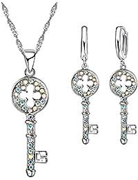 Conjunto de Colgante y Pendientes en forma de llave con Cristales y bañados en Plata 925