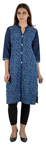 FIRST LOOK Women's Denim Achkan Kurta (19_FL-DENIM_PRINTED--XXL, Blue, XX-Large)