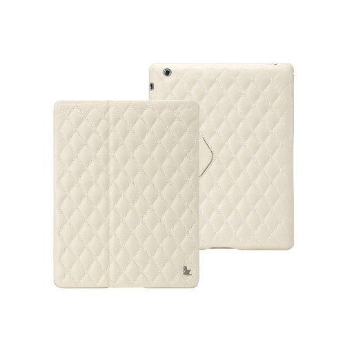 Jisoncase Smart Cover für iPad 2/3 / 4, gesteppt weiß - Weiße Gesteppte