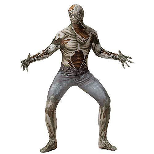 Erwachsene Halloween Horror Ghost Festival Kleidung Denim Cosplay Anime Kostüm,Metallisch,XXL (Skelett Unitard Kostüm)