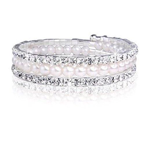 - Farbe Silber - Weiß Elfenbein Perle Armband mit weißen Kristallen Geschenk - Swarovski Elements Kristalle ()