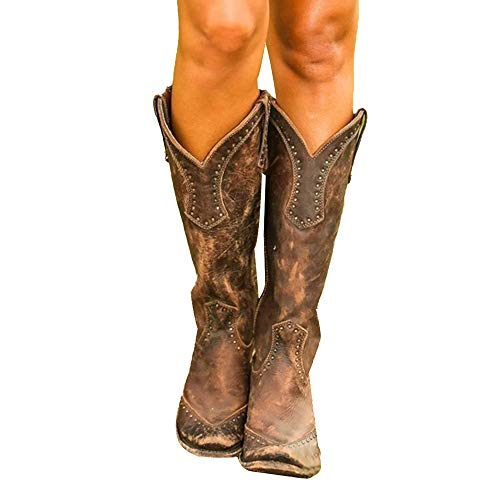 Heflashor Damen Stiefeletten Cowboy Boots mit Blockabsatz Ankle Boots Stiefeletten Biker Boots Cowgirl Western Cowboystiefel Spitz Zehen Halbhohe Stiefel