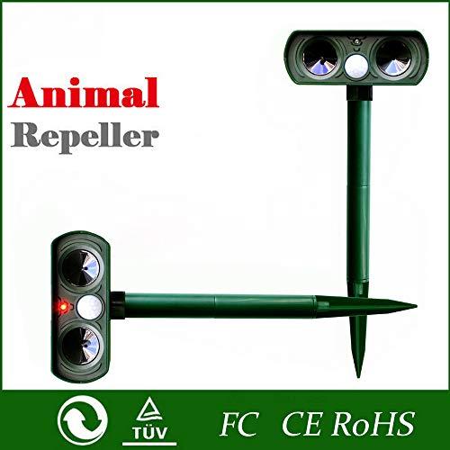WJK Outdoor Solar Ultraschall Tierabweisend Abschreckung Hund/Katze/Vogel/Maulwurf Pir Sport Repeller Fox Garden Supplies Multifunktions-Entwurmung,Green -