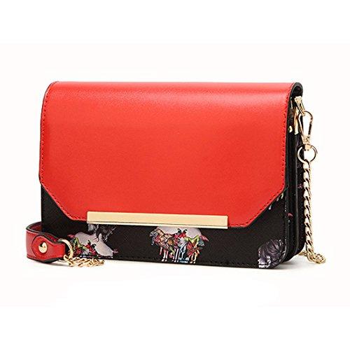Frauen Fashion Schmetterling Schultertaschen PU Leder kleiner Kette Crossbody Handtasche Messenger Casual Tasche, rose (Pink) - BAGDJXKXFB-P Rot