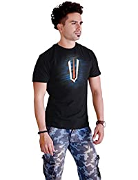 Sketch Lion Stylish Hand Printed T-Shirt- Round Neck Lord Shiva Tilak Print T-Shirt For Men-Black