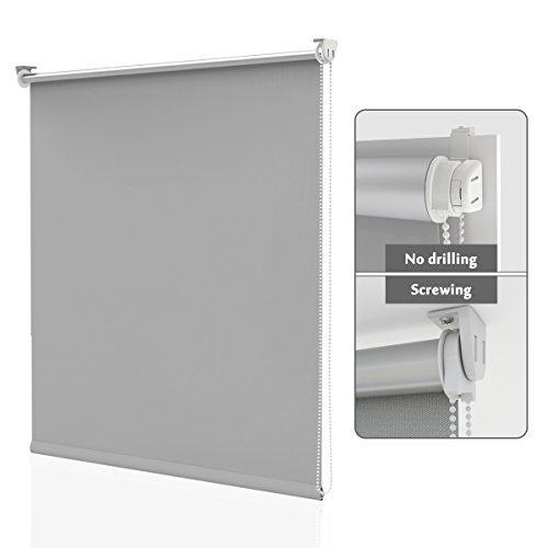HOMEDEMO Rollo ohne Bohren Verdunklungsrollo 120 cm breit Lichtundurchlässig und Lichtdicht Thermorollo für Fenster und Tür Länge 170 cm Grau