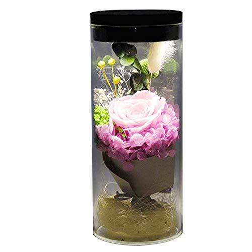 La Fleur éternelle a préservé la Fleur Rose a Couvert Les Fleurs colorées avec la lumière colorée par LED transforment, pour la Saint-Valentin, fête des mères, Anniversaire
