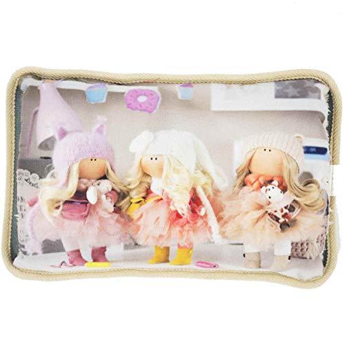 Enrico coveri collection borsa acqua calda elettrica in morbido tessuto, scaldamani imbottito con disegno bamboline, perfetto anche come regalo (beige)