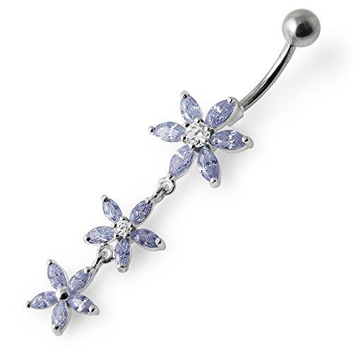 Barres de Pierre en cristal fleur Triple tendance Design 925 argent Sterling avec le ventre en acier inoxydable Lavender