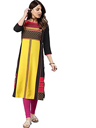 Vaamsi Women's Crepe a-line Kurta (VPK1577_S_Multicoloured_Small)