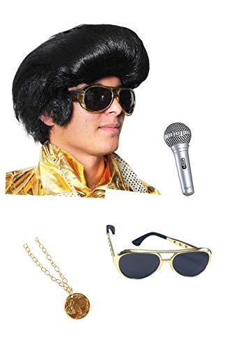 Seemeinthat Elvis Presley Set Perücke Mikrophon Brille und Medaillon zum Kreieren des Königs von Rock und der ikonische Popstar 1950er Jahre Musik und Filme Sure to get The Presley Fans schaukelnd