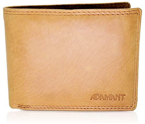 Adamant® RFID Echtleder Herren Geldbörse in Braun Querformat mit 12 Kartenfächern und Münzfach mit Druckknopf