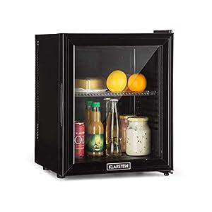 Klarstein Brooklyn 24L Kühlschrank mit Glastür • Mini-Kühlschrank • Mini-Bar • 24 L • 0 dB • 12-15 °C • Kunststoff-Einsatz • LED-Innenbeleuchtung • Glastür • für Single- und Kleinhaushalte • schwarz