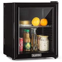 Klarstein Brooklyn 24L Réfrigérateur avec porte en verre • Mini-réfrigérateur • Mini-bar • 24 L • 0 dB • 12-15°C • Etagère en plastique • Éclairage LED • Noir