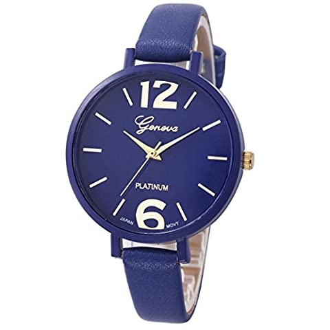 Kolylong Montre Femme Originale Pas Cher Femmes en cuir PU analogique-bracelet à quartz, Bleu