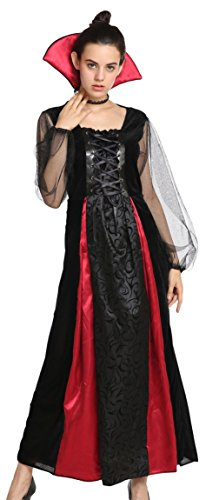 DEMU Damen Vampir-königin Halloween Kostüm Deluxe Cosplay (Erwachsene Rote Königin Deluxe Kostüme)
