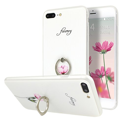 Coque iPhone 7 Plus, Moon mood 2in1 Hybrid Cover avec 360 Degree Rotating Grip Finger Ring Case Bling Gliter Sparkle Briller Coque [PP Détachable Bling Paper] pour iPhone 7 Plus Paillette Anti Choc Ho Style-1