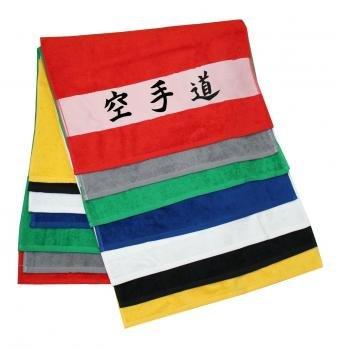 Handtuch mit Schriftzeichen / Kanji Karate Do schwarz 50x100 cm mit bedruckter Bordüre