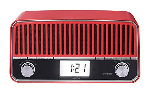 Sunstech rprbt3500rd Desktop-PC, mit Retro-Radio (am/fm, PLL-Tuner, Bluetooth, Lautsprecher, AUX-IN, 6W RMS) rot