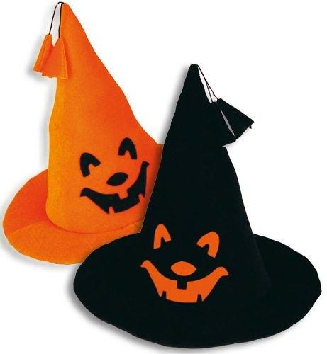 (Hexenhut klein Kürbis Halloween Hexen Hut mit Bommel und Kürbis-Gesicht schwarz Universalgröße)