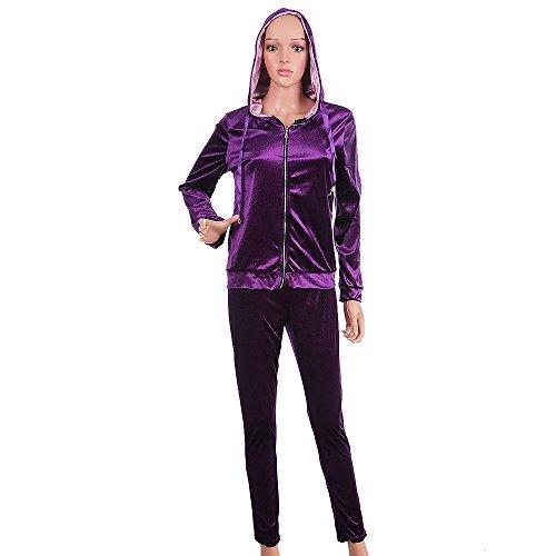 Sfit Femme 2 Pièce Ensemble Femme Survêtement Sweat-shirt Manches Longues Pull à Capuche Pantalon Longues Velours Gym Yoga Jogging Fitness Casual Violet
