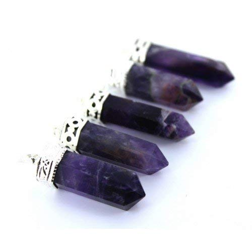 Arihant Handicraft Blue Reiki Healing Amethyst Natural Crystals Stone Pencil Point Pendant