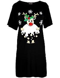 1ea34f9fa5 Be Jealous Womens Ladies Christmas Baggy Reindeer Pudding Oversized Xmas  Mini T Shirt Dress UK Plus Size 8-30