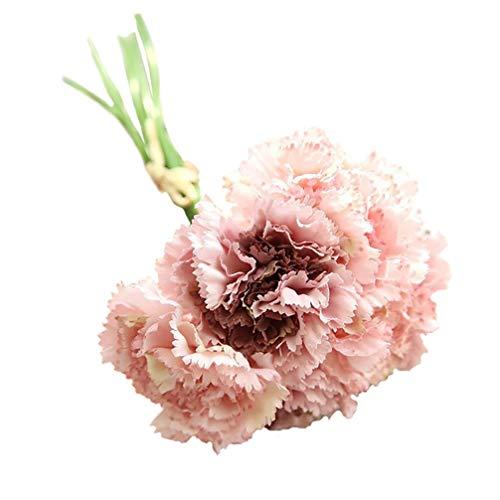 Nelke Blatt (Pink888 Künstliche Nelken, 6 Zweige/Blumenstrauß für Muttertag, Geschenk für Zuhause, Dekoration, Blumenmaterial)