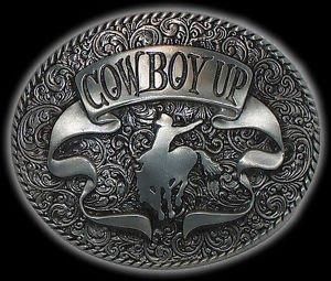 Grande Cowboy a cavallo argento fibbia della cintura occidentale nuovo.