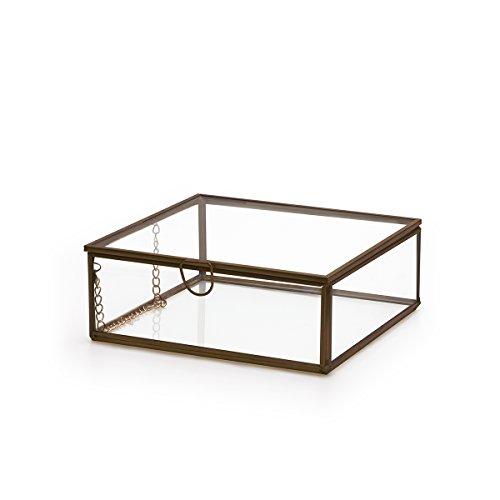 Black Velvet Studio Terrarium Retro Deco-Schmuck-Kasten Metall Farbe Schwarz Transparent Glass Laton - Nordic Stil Vintage-Schmuck Storage Dimensions 5 * 13 * 13cm (Schmuck Stil)