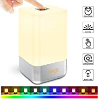Luces Despertador LED Wake Up Light Despertador con Simulación de Amanecer, 3 Brillos y 5 Sonidos Naturales Recargable USB Luz de Noche Táctil Inteligente Cambio de Color RGB Lámparas de dormitorio