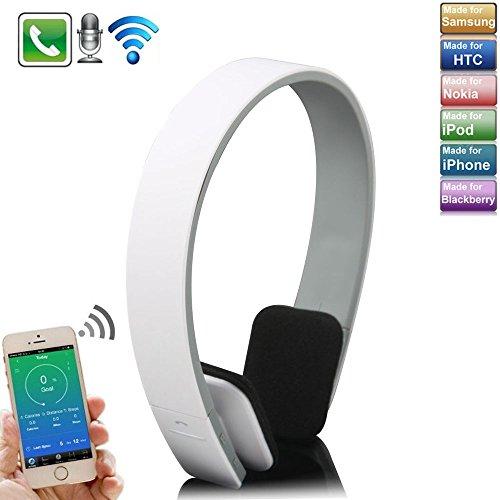 KVAGO drahtlose Bluetooth Kopfhörer Headset Bügelkopfhörer Stereokopfhörer Sport Stero-Ohrhörer für alle Iphone Android Smartphone Handy Tablet PC Notebook - Weiß (Bluetooth Headset Voice-dial)