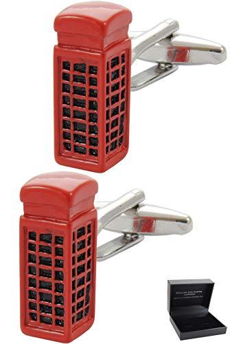 COLLAR AND CUFFS LONDON - Boutons de Manchette avec Boite-Cadeau Cabine Téléphonique - Laiton - Couleur Rouge - Téléphone