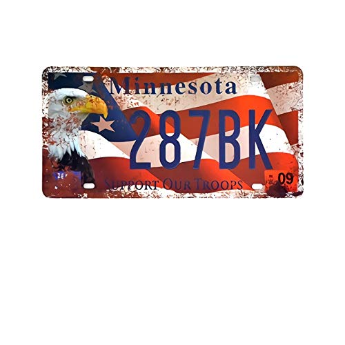 PotteLove Metal Signs,Minnesota Vintage Garage Car Number License Plate Metal Tin Signs Wall Art Painting Truck Iron Craft Home Bar Pub Decor