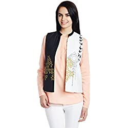 W for Woman Rayon Gilets (16FE32396-57148_Black and White_12)