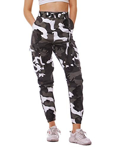 AIDEAONE Damen Hosen Baumwolle Sommer Camouflage Cargo High Waist Sport Treggings Jogginghose - Camouflage Cargo Hose
