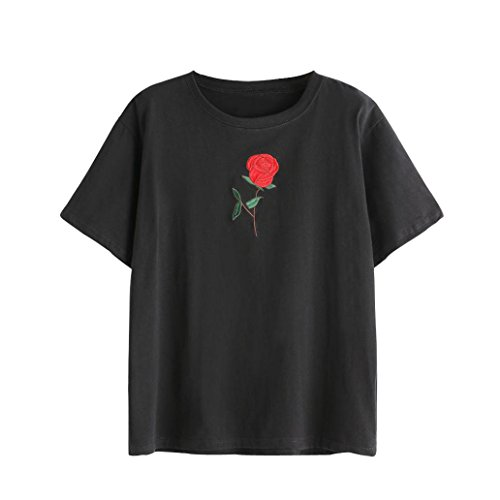 Damen Sweatshirt T-Shirt,Dasongff Mode T-Shirt Rose Blumen Gedruckt Shirt Bluse Damen Sweatshirt V-Ausschnitt Weste Oberseiten Bluse (L, Schwarz-D)