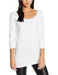 Vero Moda Damen VMMAXI MY LS SOFT LONG U-NECK NOOS' Langarmshirt, Weiß (Bright White), 38 (Herstellergröße: Medium)